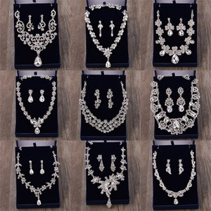 韩式新娘饰品水钻项链套装<span class=H>耳环</span><span class=H>两件套</span>简约结婚纱礼服百搭配女颈链