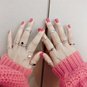 s925纯银<span class=H>戒指</span>女日韩国韩版泰银玛瑙复古开口可调节简约潮人食指环