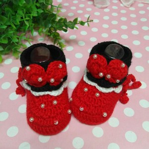大红色<span class=H>米奇</span>儿童小孩<span class=H>婴儿</span>毛线<span class=H>鞋子</span>纯手工编织鞋针织冬款可加绒棉鞋