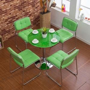 绿色小户型家用小饭桌<span class=H>椅子</span> 圆形餐桌椅组合 商务洽谈会客休闲圆桌
