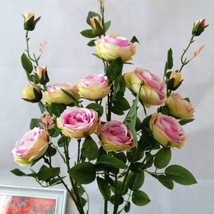 6头仿真玫瑰花假花绢花客厅装饰花摆件干花花束插花花艺3支包邮