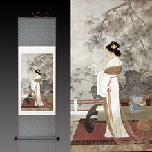 Ancient scroll custom-made silk mural silk traditional painting scroll painting ladies study college office decoration hanging