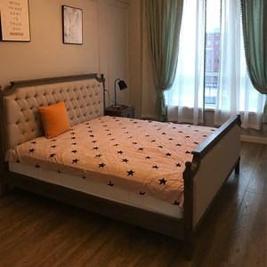 出口特价欧式法式乡村<span class=H>美式</span>橡木床实木雕花单双人床原木复古布艺床