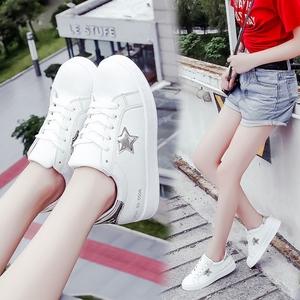 小白鞋女2017秋季新款平底<span class=H>女鞋</span>学生运动单鞋百搭韩版<span class=H>时尚</span>板鞋子潮