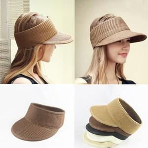 遮阳空顶太阳帽可折叠棒球鸭舌帽子女夏天宽檐<span class=H>草帽</span>沙滩防晒帽凉帽