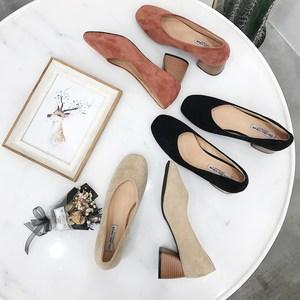 2019春季粗跟单鞋女新款复古方头百搭韩版绒面高跟<span class=H>四季鞋</span>奶奶鞋