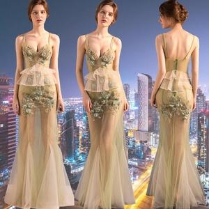 夜店女装性感透视礼服长款显瘦遮肚子晚礼服透明夜场桑拿洗浴长裙