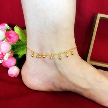 The new sand gold transfer beads bell anklet female 24K gold-plated Japan and South Korea imitation gold fashion wild jewelry does not fade