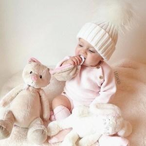 Leokid秋冬款超大貉子毛球球女宝宝毛线帽婴儿羊毛套头帽儿<span class=H>童帽</span>子