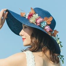 Beach Hat Female Summer Seaside Baitie Holiday Bali eaves sunshade hat Korean version of small fresh flowers straw hat